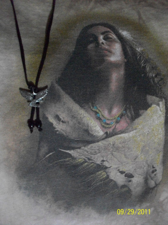 Silver Eagle Pendant Necklace With Leather Lace and Glass Beads Hand Made - Native American