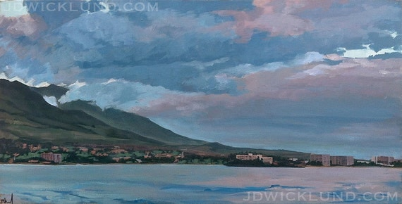 Hawaiian Sunset - unframed Original Painting on canvas by jdwicklund