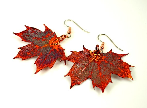 Copper Iridescent Real Maple Leaf Earrings - Electroplated