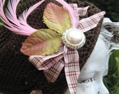 Lady Amber Chocolate Raspberry Tartan Child Hat, Girls Hat, Baby Hat-Brown hat with pink feather, pearl and tartan ribbon accent
