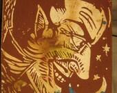 Hand Carved Linoleum Block Print - The Gentlemen Devil