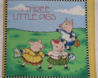 "Soft Cloth Book vintage story of "" the Three Little Pigs"" and the ""Big Bad Wolf"" by Mary Engelbreit"