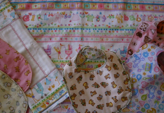 "Handmade ""Baby Boy or Baby Girl Burp Cloth, Bib and Blanket"" in pink and blue"