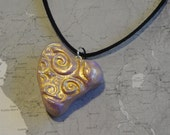 LOVE Polymer Clay Heart Necklace