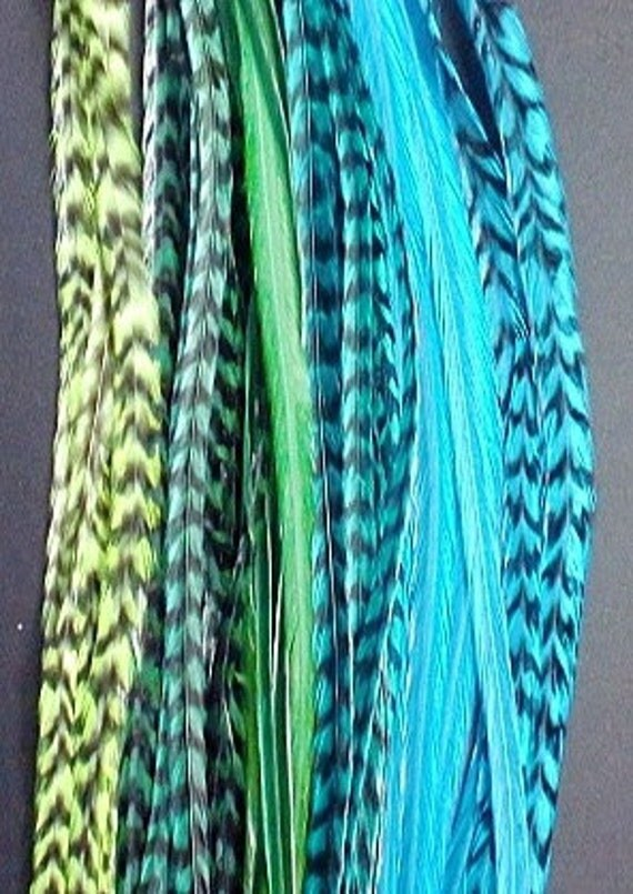 """Bright Turquoise & Green, 8-10"""" LONG, 6 feathers and 3 beads"""