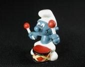 Vintage Drummer Smurf Figurine
