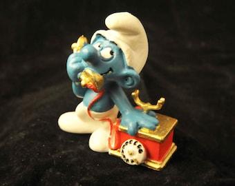 Vintage Telephone Smurf Figurine - Gold & Red