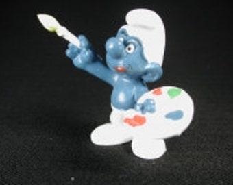 Vintage Artist Smurf Figurine