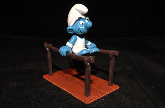 Vintage Parallel Bars Gymnast Smurf Figurine