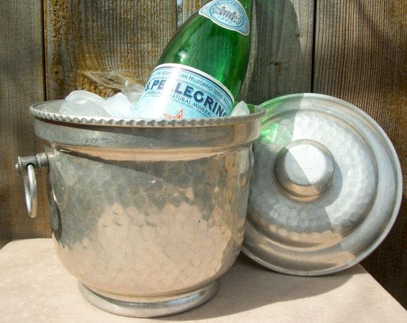 Hammered metal champagne bucket