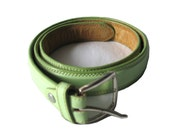 Reduced : Vtg. Handmade light Green genuine Leather belt with Silver Buckle