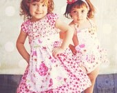 Pinafore Apron Dress Vintage Inspired in A Sweet Affair Pink Green Red for Infant, Toddler, Girls