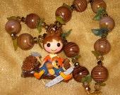 Lalaloopsy Forest Evergreen log pinecone kawaii Harajuku deco den decoden beaded necklace