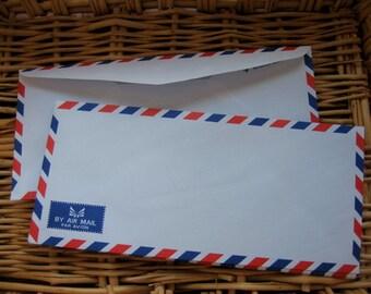 25  Vintage Style Thai Airmail Envelopes (Long Size : 10.80 cm.x 23.50 cm.)