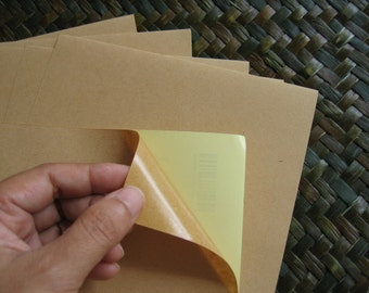 10 Sheets of  Brown Kraft Paper  Labels,Stickers ( Size 15 cm.x 21 cm.)  Multipurpose for D.I.Y., Handmade Stickers