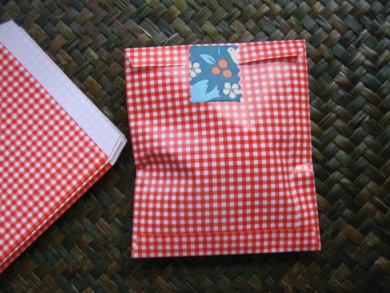 Set of 20 Red Gingham Handmade Gift Bags / Paper Bags ---Small Size : 11.40 cm.x 13 cm.