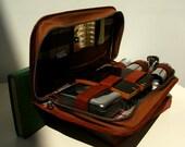 Vintage Leather Travel Male Grooming and Vanity Set