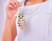 Elegant big color owl necklace pendant vintage style