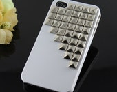 Silver pyramid stud White Hard Case for Apple iPhone 4 4s Case, iPhone 5 5s 5c case, iphone case,iphone cover
