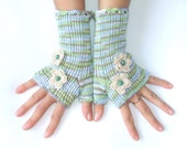Cotton  Fingerless Gloves with Flowers  -   100 % Cotton