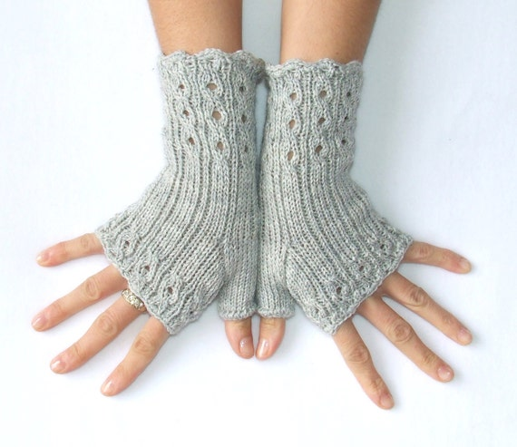 Fingerless Gloves Knitting Pattern Nz : Elegant Fingerless Gloves Cables and Lace Heavy wool