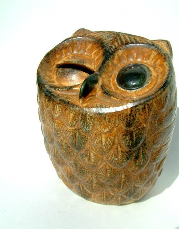 Vintage 1960s Ceramic Owl Piggy Bank By Vermontvintagegoods