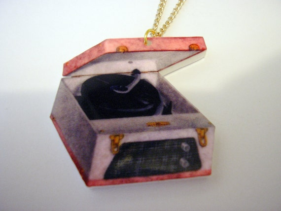 Vintage Record Player Acrylic Pendant