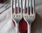 I Do, Me Too Wedding Cake Fork Set - 1847 Rogers Bros - First Love Design - Hand Stamped - First Love Collection 2012