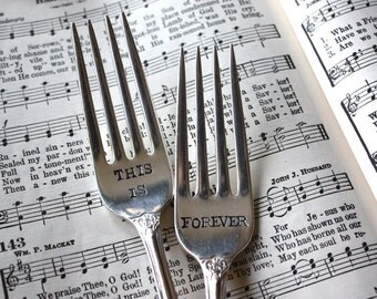 This Is Forever Wedding Cake Fork Set - Hand Stamped - Vintage Beauty - Forever is Ours