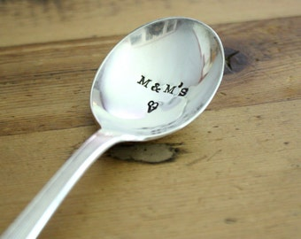 Custom Candy Scoop  - Hand Stamped Spoon - Vintage Gift -  Every Day Vintage - Wedding Candy Bar