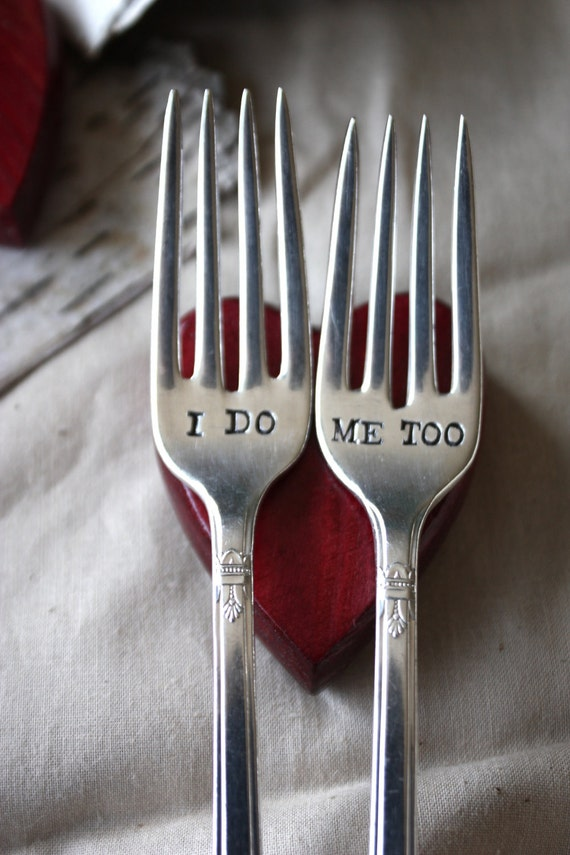 I Do, Me Too Fork Set - 1847 Rogers Bros - First Love Design - Hand Stamped with Wedding Date on Handle - First Love Collection 2012