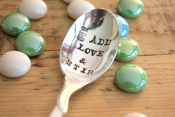 Add Love and Stir - Stirring Spoon Hand Stamped - Forsuchatimedesigns