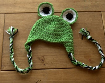 Newborn Frog Hat with Earflaps and Ties - Ready to Ship