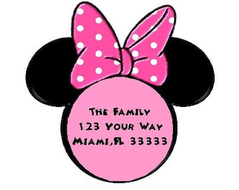 Minnie Mouse Colors Personalized Stickers - Favor Labels, Party Favor, Address Labels, Gift Tag, Birthday Stickers - Choice of Size