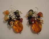 Amber Cluster Earrings