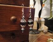 Black and Teal Crystal Earrings