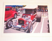 Photo Note Card Free Shipping Classic Vintage Red Ford Hot Rod Car Blank Inside 4 X 6 Handmade in Montana USA