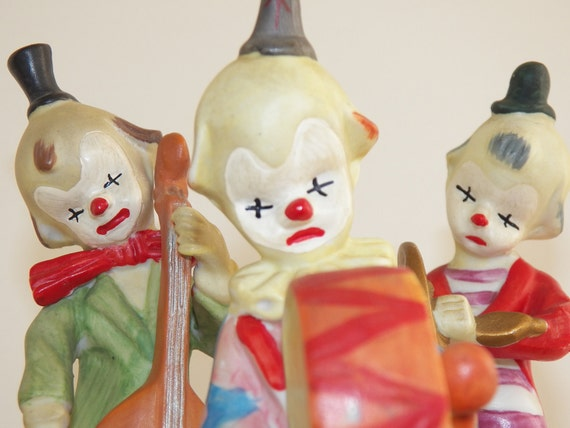 Vintage Porcelain Clown Collectible Set of Three Free Shipping