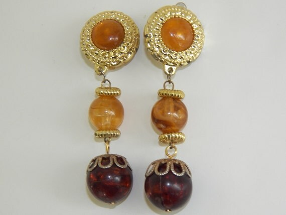 Vintage Costume Jewelry Clip On Earrings Earth Tone Dangling Free Shipping