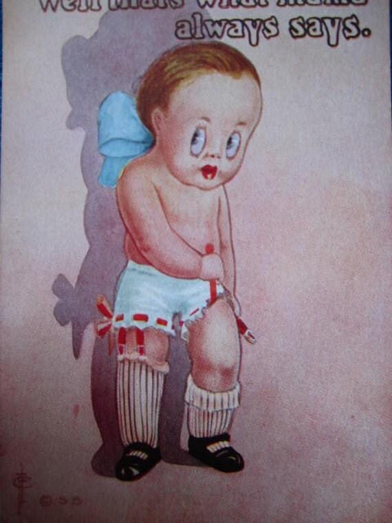 Baby Girl Garter Beltfunny Vintage Postcard