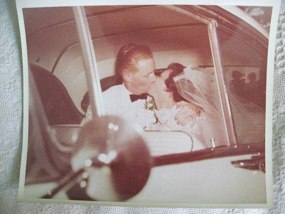 RESERVED Spectacular Wedding Kiss . .   Vintage 1950s 8 x 10 Photo