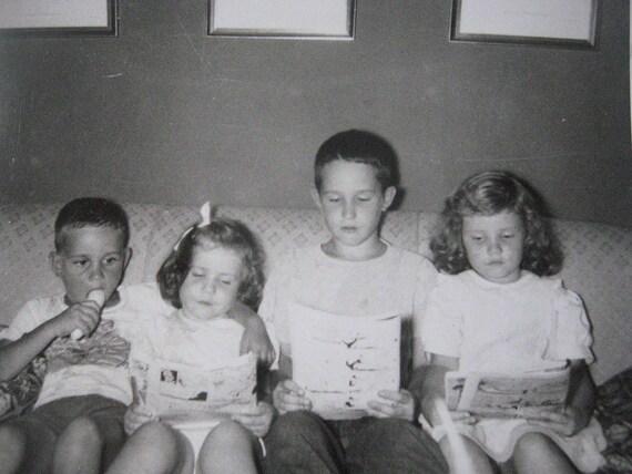 RESERVED Kids Reading Comic Books . . .  1950s Vintage Snapshot