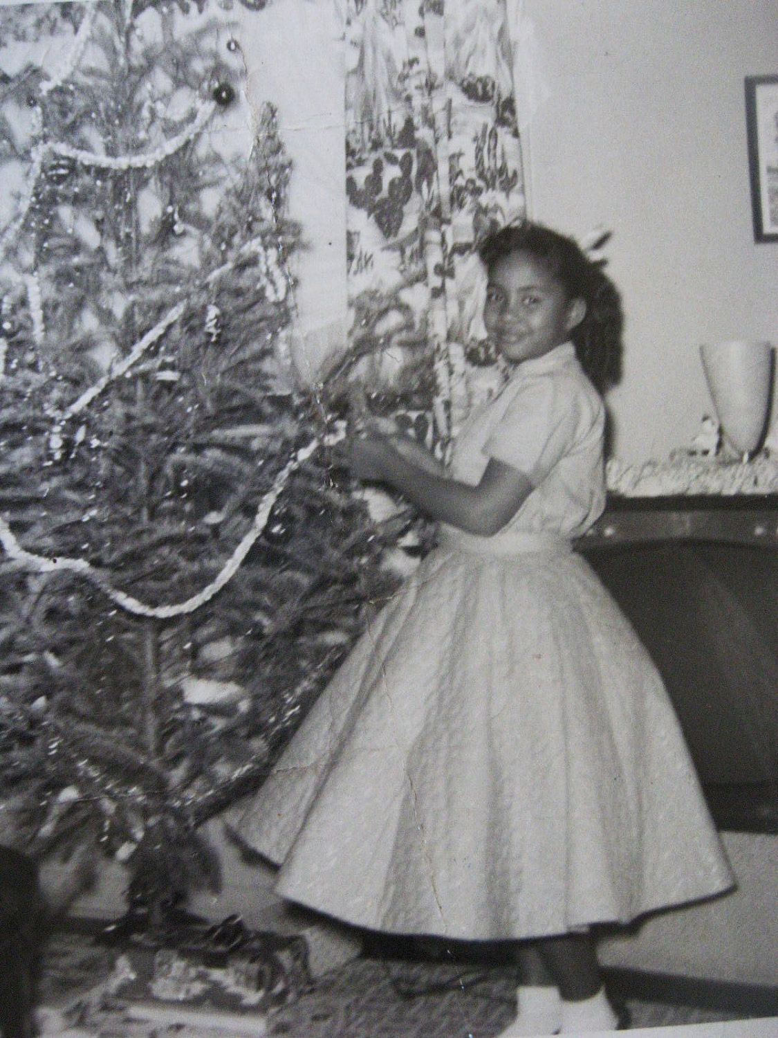 Poodle Skirt by the Christmas Tree. . .1950's Vintage