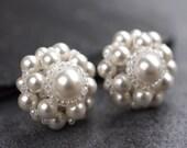 Swarovski Pearl Daisy Studs Earrings /  white - bridal jewellery