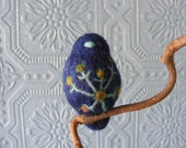 Needle Felted Bird:  Navy Blue Bird with Multicolored Flower (made to order)