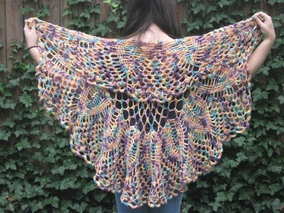 Multi-colored Chrysanthemum Crochet Shawl