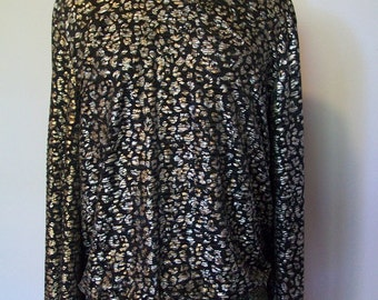 SALE Vintage New Wave Animal print Metallic Gold and Silver Top  (( Size Small to Medium))