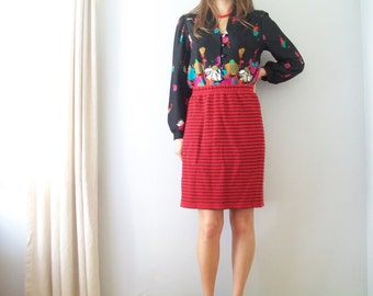 SALE Red and Black Stripe Wiggle Pencil Skirt (( Size Medium to Large))