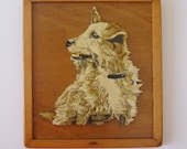 Vintage hand painted wooden plaque of a dog
