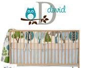 OWL tree branch Initial Name Monogram Kids Vinyl Wall Decal